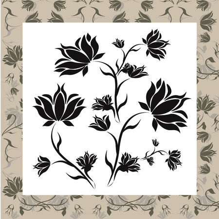 Floral frame with black flowers in the center. Stock Vector - 7729832