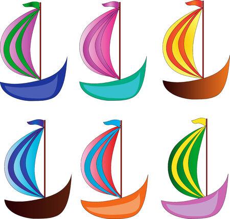 sailing ships: Six varicolored ship