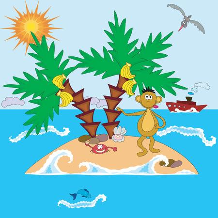 wawe:  Island with monkey and palms Illustration