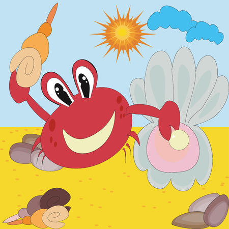 Red crab with shells Vector