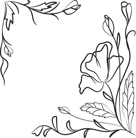 decorative item: Frame from flowers in contour Illustration