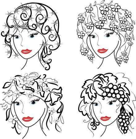 silouette: Four women in contour