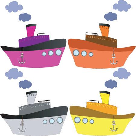 steamship: Vier varicolored schepen