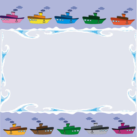 Frame with varicolored ships and sea wawes Vector