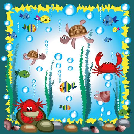 Marine life. Vector