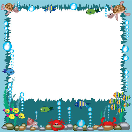 cartoon frame: Cornice con animali marini.