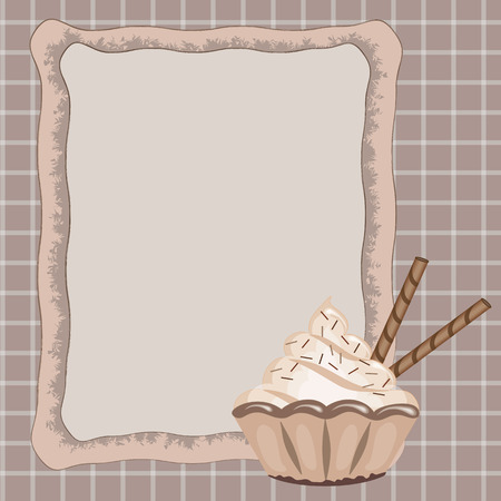 Frame with cake. Vector