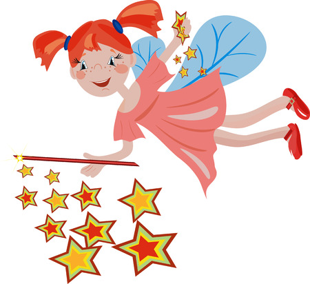 redhead girl:   Redhead stars  fairy. Illustration