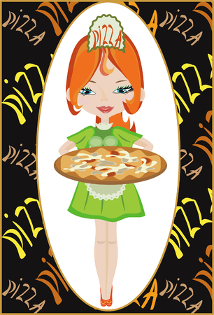 Girl with pizza. Vector