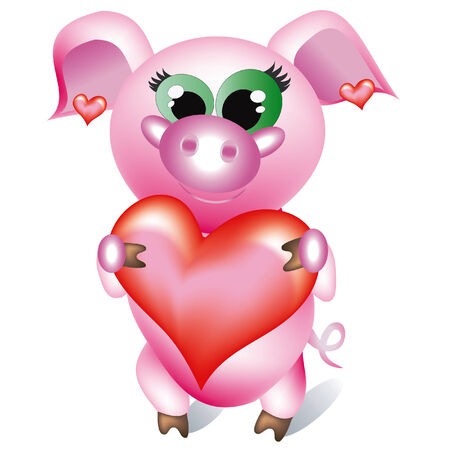 coeur: Pig with heart. Illustration