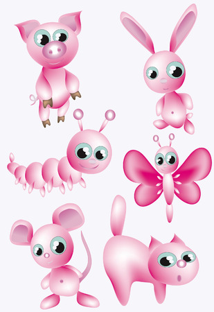 Set:pink animals. Vector