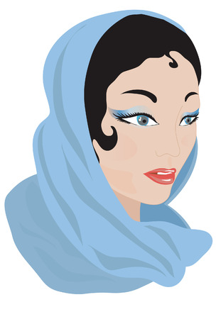 veiled: Woman in a blue scarf.
