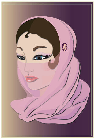 exotic woman: Arabic woman in a pink srarf.