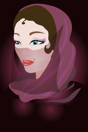 veiled: Arabic woman in a violet srarf.