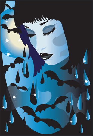 Halloween background with face of a girl. Vector