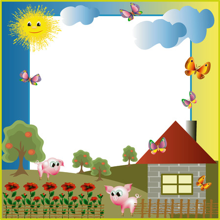 housetop: Village with a merry piglets summer frame Illustration