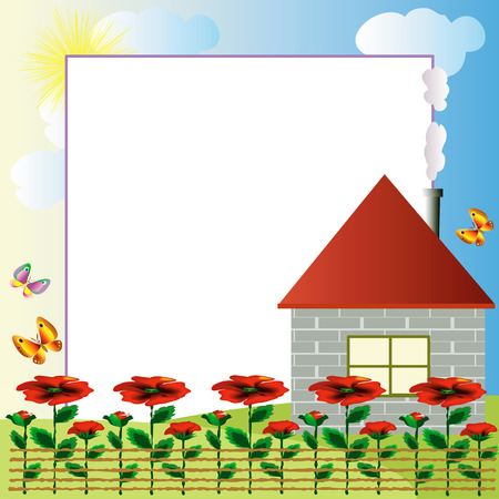 Frame :village. Stock Vector - 7829152