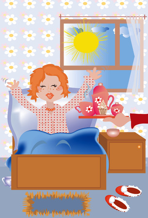 breakfast in bed: Breakfast at the bed to the redhead girl  Illustration