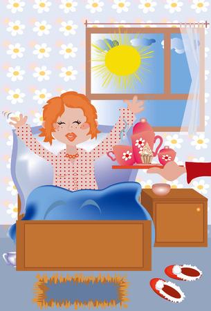 Petit déjeuner au lit pour la jeune fille redhead