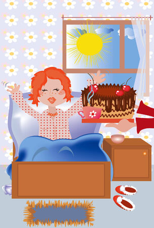 blind girl: Breakfast at the bed to the redhead girl in the birthday Illustration
