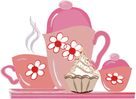 Tea party:pink tea set on a tray with cake. Stock Vector - 7985066