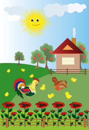Rooster,hen,chicks in the village Vector