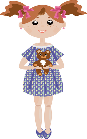 Girl with bear Stock Vector - 7985068