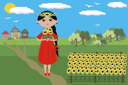 Girl with sunflowers in the red dress in the field Stock Vector - 8075107