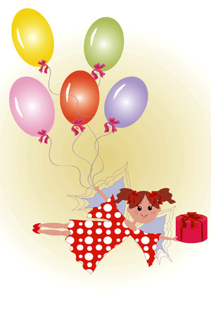 Fairy with gift and balloon. Vector