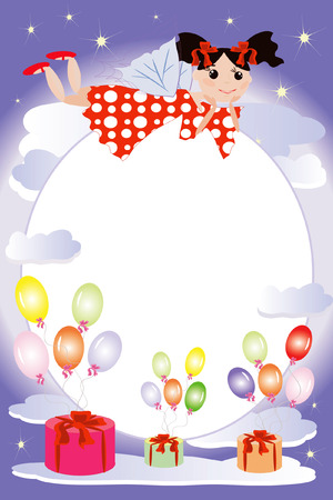 Birthday frame:fairies flying on a balloons  Stock Vector - 8075111