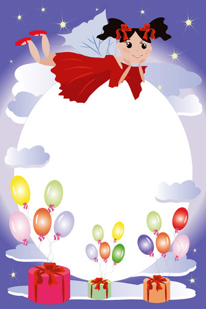 Birthday frame:fairies flying on a balloons Stock Vector - 8075112
