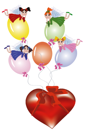 Fairies flying on balloons tied to heart Stock Vector - 8075114