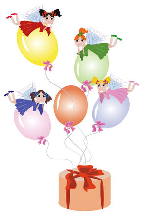 period costume: Fairies flying on balloons tied to gift