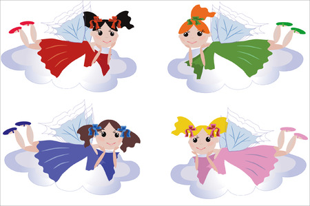 period costume: Icons :fairy flying on a clouds