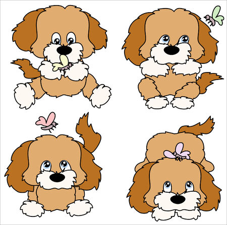 cute puppy: Four puppies with butterflies
