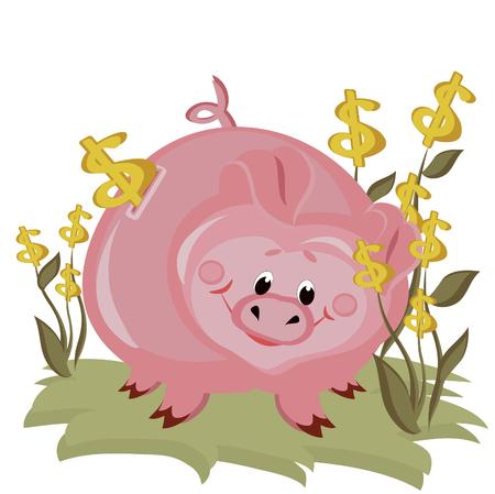 Piggy bank,dollar Vector