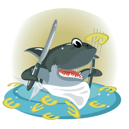 Shark in the sea of a euro Stock Vector - 8075128