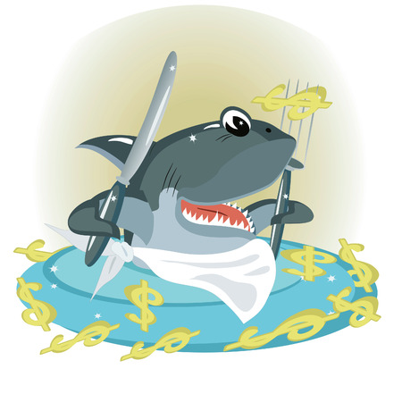 Shark in the sea of a dollars Stock Vector - 8075127