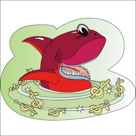 Red  shark in the sea of a dollars Vector