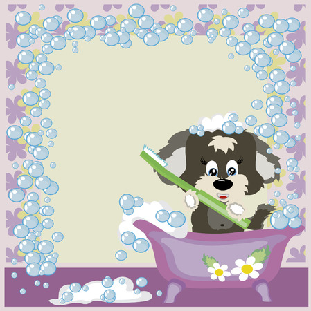 Frame:Puppy in the bathroom Stock Vector - 8075135