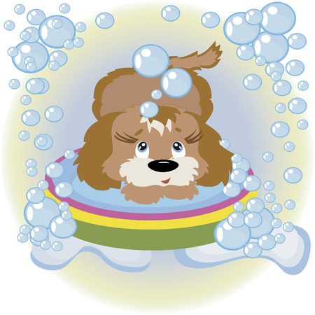 Puppy in the bathroom Stock Vector - 8075130