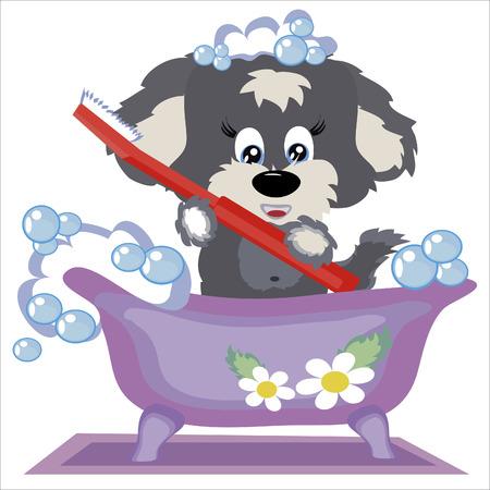 Puppy in the bath Vector