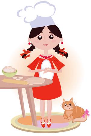 Girl cook Vector