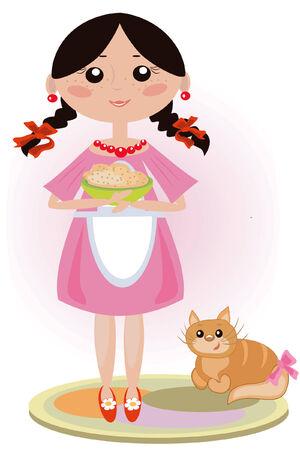 forage: Girlwith cat Illustration