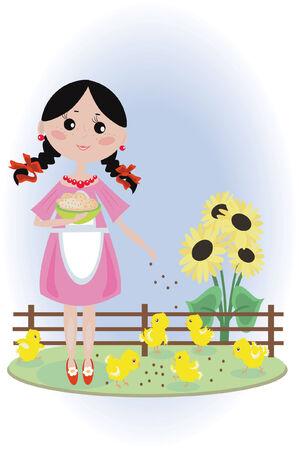 chikens: Girl feeds chikens Illustration