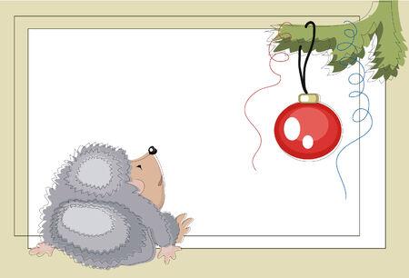 Christmas ;hedgehog  looks on the fir-tree. Vector