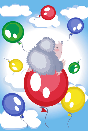 Background with balloons and hedgehog, Vector