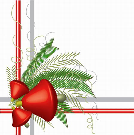 mistletoe: Frame with red bells.