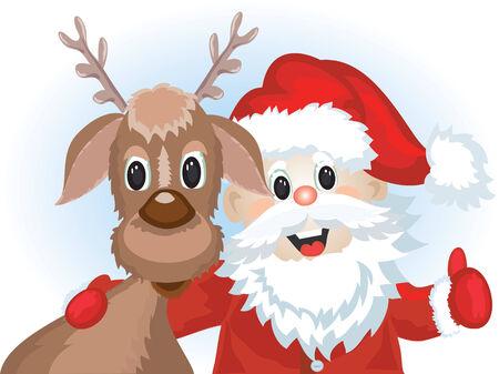 Santa with deer Stock Vector - 8339423