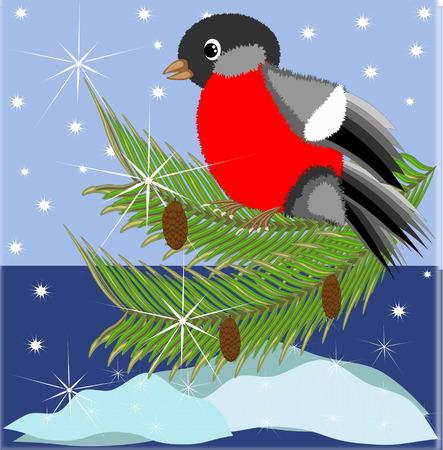 bullfinch: Christmas ,New Year background with bullfinch Illustration